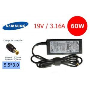 Cargador Compatible Samsung 19V 3.16A 60W Conector 5.5*3.0