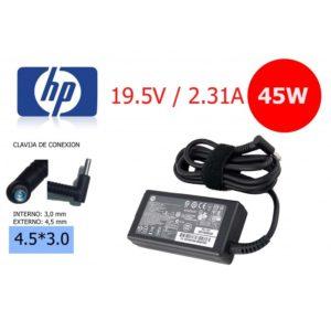 Cargador Compatible HP 19.5V- 2.31A 45W Conector: 4.5mm x 3.0mm