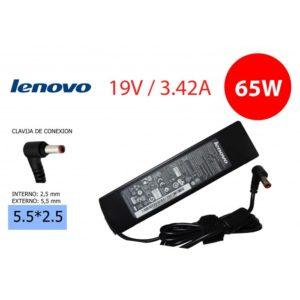 Cargador Compatible LENOVO 65W 19V 3.42A Conector: 5.5*2.5